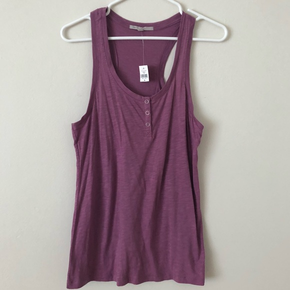 da4cedb1b8572e Gap Henley Tank Top With Snaps Purple Loose M